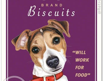 "11x14 Jack Russell Art - Beggar Biscuits ""Will Work For Food"" - Art print by Krista Brooks"