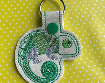 Chameleon embroidered key fob