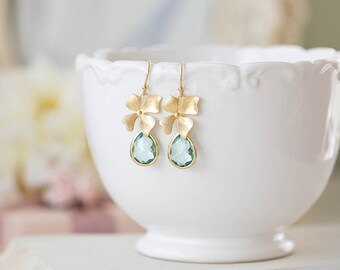 Seafoam Green Earrings, Gold Orchid Flower Aqua Blue Glass Dangle Earrings, Aqua Wedding Bridesmaid Earrings, Valentine's Day Gift for Her