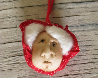 Folk Art Grandma Ornament, Plush Christmas Ornament, Handmade and Vintage, Red Polka Dot Bonnet, White Hair, Grandmother, Holiday Decor, Red