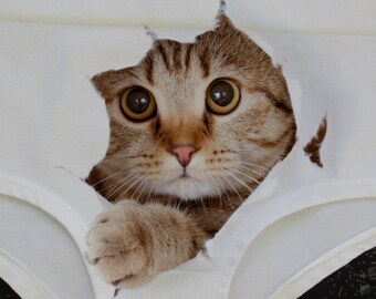 Cute Cat panties, Cat briefs, Cat face, Kitty panties, Gift for her, Cat underwear, Funny underwear, 3D panties, 3D lingerie,funny Panty