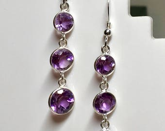 Genuine Amethyst and sterling silver 3 graduating drop earrings.