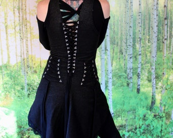 Neoclassical Underbust Vest in Black OR Blue Organic Stretch Denim, Lace Up, Snaps, Witch, Festival Couture