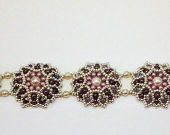 Flowers pearls and Swarovski Crystal bracelet