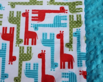 Travel Pillowcase - Multi Color Giraffes Print Minky with Turquoise Dimple Dot Minky Border - great for a Toddler or Travel Pillow