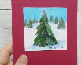 Snowscene mini art, Snow mini art, original art gift, snow art, snow lover art, mini art, fits in 5x7, cardinals in snow