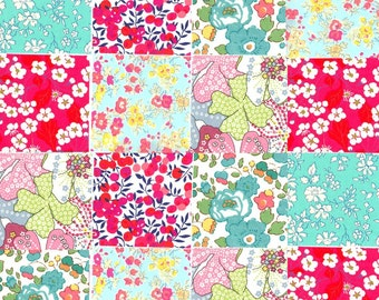 36 Liberty Tana Lawn 2.5in Charm Squares Pink Turquoise Mauvey