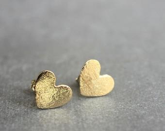 Gold studs, Small gold stud earrings, heart stud earrings, minimalist earrings, mothers day gift.