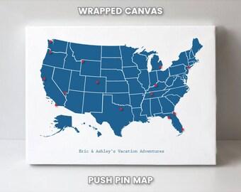 United States Travel Map Push Pin United States Map Wall Art Map United States Rustic Map of the United States United States Map Gift Men