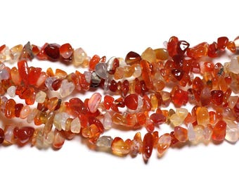 about - stone beads - carnelian rock Chips 5-12mm - 4558550019455 130pc