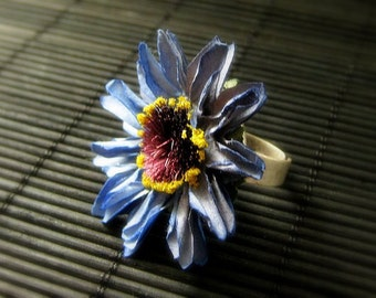 Blue Flower Ring with Blue Daisy Paper Flower and Adjustable Ring Base in Aged Silver. Handmade Jewelry.