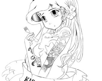 Punk Princess Ariel Colouring Page