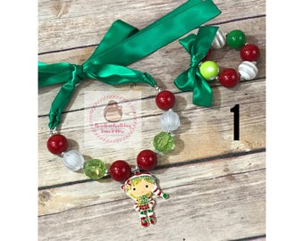 Christmas chunky bead necklace with matching bracelet