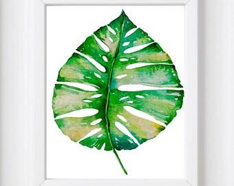 Palm leaf, Botanical art print, Watercolour leaf art, Nature art print, Watercolour print, Leaf art print, Watercolour, Apartment wall art
