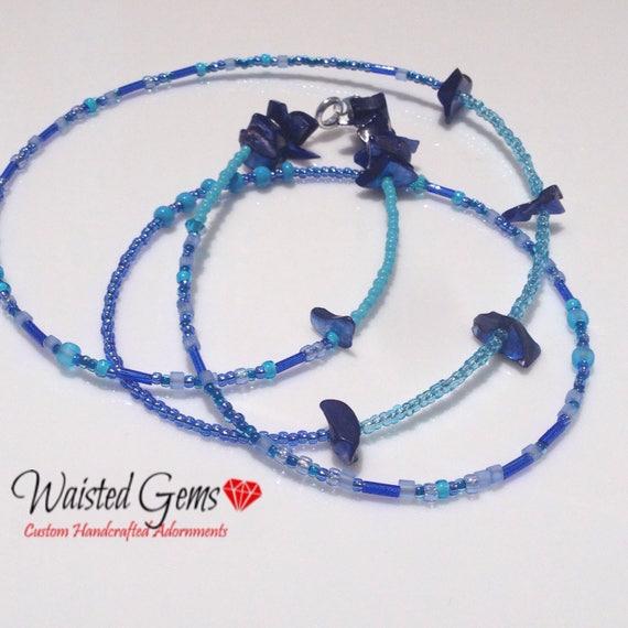 Blue Waters Waist Beads, Belly Chain, Body Beads, Summer Party, Summer, beach wear, Boho Jewelry, waist beads zmw4434