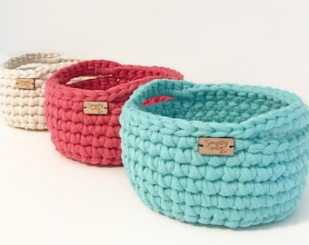 Spring Decor / Graduation Gift Basket / Storage Basket / Crochet Basket / Crochet Bowl / Storage Bin / Office Organization / Dorm Decor