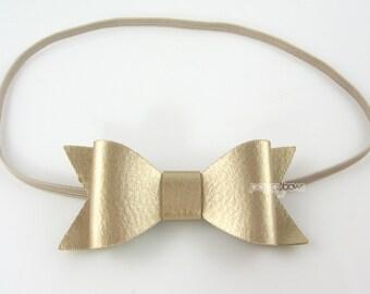 READY to SHIP Newborn Headband - gold headband - faux leather small headband - infant headband - baby headband - leather bow headband - bow