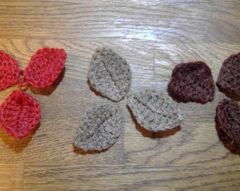 Handmade Brooch Autumnal Red, Brown and Taupe Leaves/leaf Brooch by Emma Frances