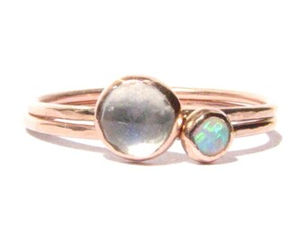 Set of 2 Stacking Rings - Opal, Moonstone Solid Rose Gold Rings - Stacking Ring -Thin Gold Ring-Engagement Ring- Rose Cut Ring-Made To Order