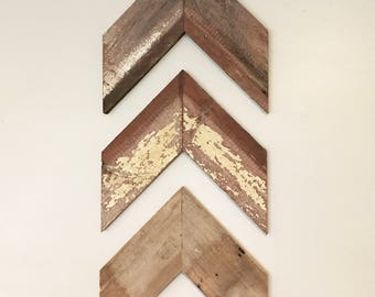 Reclaimed Authentic Barn Wood Wall Art Chevrons Pack of 3