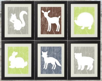 Woodland Nursery Art , Forest Nursery Art, Forest Animals, Little Critters - set of 6 -  8x10 Printables