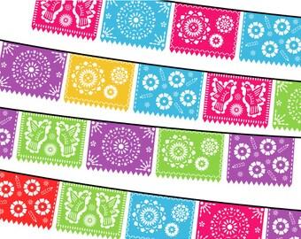 Papel Picado Clipart, Digital Fiesta Mexican Banners Clip Art, Cinco de Mayo Clip Art, Printable Papel Picado