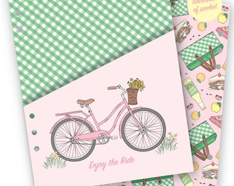 Printable Retro Picnic A5 Planner Pocket - Digital File Instant Download- dashboard, planning, pastels, florals, Summer, DIY