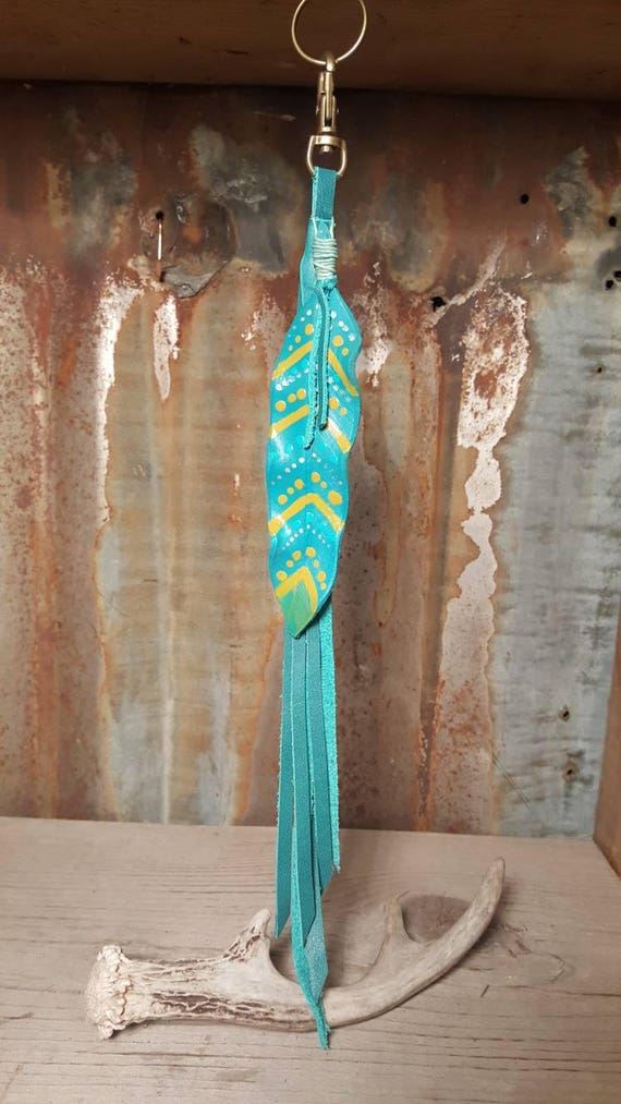 leather feather key chain in turquoise and yellow