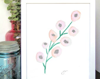 Blush Pink Flower Watercolor Print - Spring Wall Decor - Nursery Room Decor - Kids Room Decor - Baby Shower Gift - Gift for Her