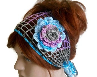 crochet lace Headband, Knit Hair Band, Hand Knit Hair Band, handmade Hair Band, Knit lace Hair Band, Fashion Hair Band, Floral Hair Band