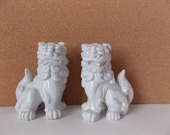 White Porcelain Foo Dog Pair Mid Century Blanc De Chine Style Figurines by MCI Japan