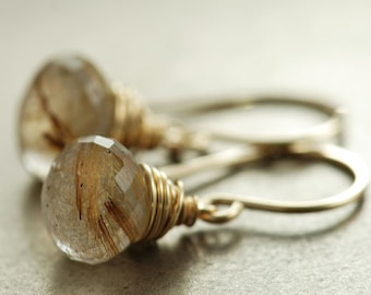 Golden Rutilated Quartz Earrings, Gold Dangle Earrings, Gemstone Jewelry, Sheath, Winter Fashion, aubepine