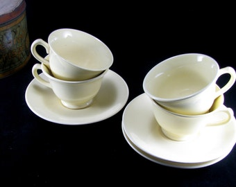 Persian Yellow Cream Tea Set, Lu-Ray Pastels Made In USA, T.S & T. Taylor Smith Taylor, Vintage 1940s 7pc Set