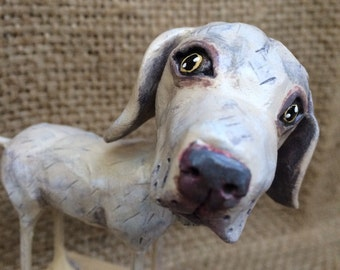 Customize or Memorialize your Dog clay folk art sculpture made from your pet photographs