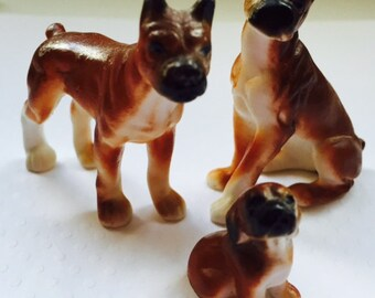 Vintage Boxer Dog Figurine Collectible Set - Stamped Bone China - EXCELLENT CONDITION by Vintage Chic Ltd.