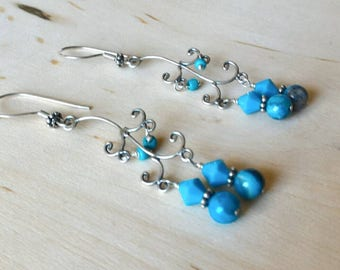 Blue Chandelier Earrings, Sterling Silver Earrings, Crazy Lace Agate Earrings, Swarovski Earrings, Holiday Gifts , Gift for Her