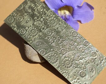 Brass Textured Metal Sheet Paisley Pattern 24g - 6 x 2 1/4 inches - Bracelets Pendants Metalwork