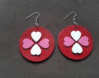 "Valentine's Day Heart 2"" Earrings, Love earrings, Leather heart earrings, gifts for her"
