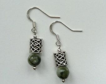 Connemara marble Celtic earrings. Irish jewellery Jewelry gift. Craft