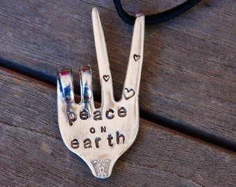 PEACE on EARTH stamped Peace Sign Ornament made from Fork hung on Black Suede Leather  Holiday Ornament