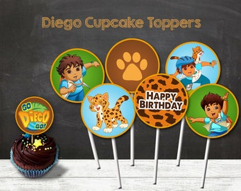 Diego Cupcake Toppers, Diego Party, Diego Printable Toppers