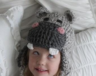 Hippo Hat - Children's Hippopotamus Hat - Hippo Hat - Girls or Boys Hats - Children's Halloween Costume - by JoJo's Bootique