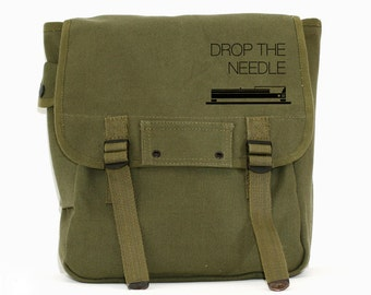 Hipster Backpack, Festival Backpack, Canvas Backpack, Musician Gift, Gift DJ, Military Backpack, Backpack for Men, Rucksack, Drop the Needle