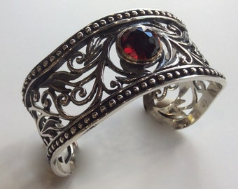 Wide  filigree cuff,  Sterling silver gold cuff, filigree bracelet, garnet bracelet, statement cuff, oxidized  - Because you're mine B3000