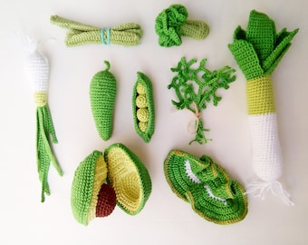 Crochet vegetables (9 pcs), food, eco-friendly toy, pretend play toy,play food,teether teeth,teething toy,kitchen decoration,Baby toy