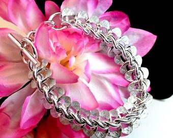 Silver Tone Chain Bracelet Link Bracelet Lightweight Bracelet Vintage Bracelet 1980 Link Bracelet