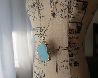 Turquoise and Gold Pendant Necklace...Ready to ship...FREE SHIPPING