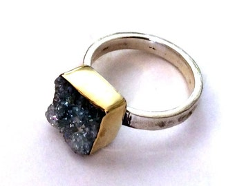Gold silver ring, Sterling Silver Band, sterling silver ring, purple druzy ring, gemstone ring, hammered silver band - Party girl. R2177-2