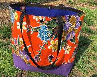 Large Orange Floral Oil Cloth Beach Bag, Canvas Vinyl Tote, Picnic Grocery Bag