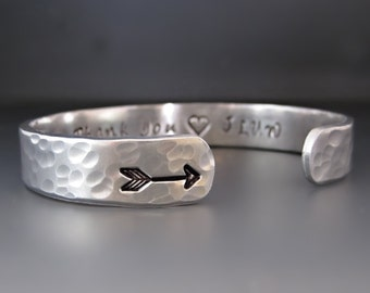 Silver Arrow Cuff Bracelet / Custom Personalized Arrow Bracelet / Follow your arrow / Hand Stamped / Gifts for her / Graduation Gifts